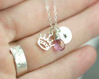 Little Girl Necklace Gift - Princess Silver Necklace - Daughter Initial Necklace - Silver Birthstone Initial Necklace - Birthstone Necklace