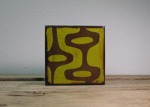 Mid Century Modern Abstract Atomic Art Block -- MatchBlox--Green 1675
