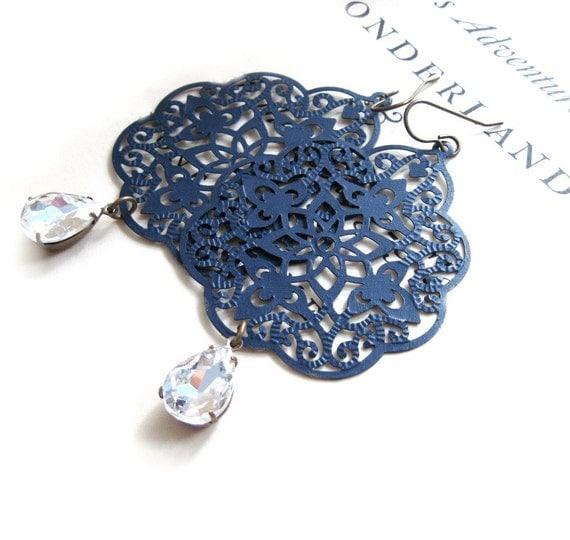 Sapphire Earrings Blue Earrings Filigree Earrings Lace Jewelry Rhinestone Jewels Bohemian - Midnight Lace