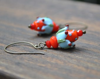Orange Blue Fairy Flower Earrings, Whimsical Lampwork Glass Earrings