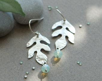 Leaf jewelry, Silver leaf earrings, mint earrings, Mint opal earrings, Roman earring, Dangle earrings, Silver and mint wedding, drop earring