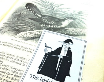 Bookplates Black Wizard 15 Personalized Booklabels Ex Libris