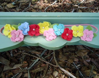 Hydrangea Wool Felt Flower Halo Headband