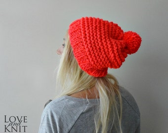 Hand Knitted Pompom Beret- Neon Orange- Pom Pom Beanie- Wool Knit Hat- Winter Hat- Slouchy Pom Pom Hat