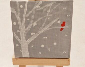 Cardinal in Snow - Original Miniature Painting by Jamies Art