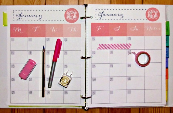 """12 MONTH PRINTABLE agenda planner with cover page (PDF files 8.5""""x11"""")"""