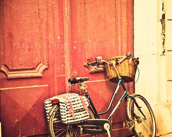 Bicycle in Paris / Wall Art Print / Photograph of Vintage Bicycle / cranberry red door / Paris home decor / nursery art / girls room decor