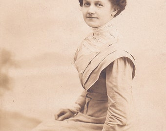 Vintage Real Photo Postcard - Lovely Young Edwardian Woman