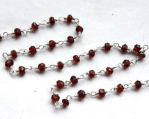 3 feet, Faceted Garnet Gemstones with Sterling Silver Chain // hand wired chain