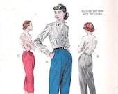 Vintage 50s Pants Pattern Capris Clam Diggers Trousers 24 waist Butterick 6592
