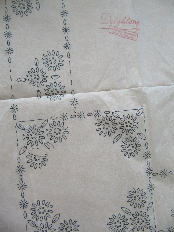 Vintage iron on transfer large embroidery pattern flower