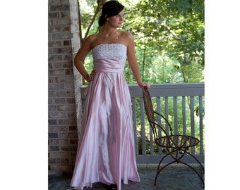 1980s strapless gown, 80s does 50s, pink satin gown, sequin bodice, gown with bustle, Size M