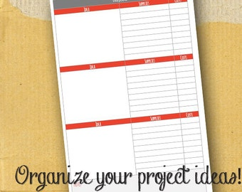 Projects Organizer / Planner Page/ Form / DIY / Printable / 8.5 x 5.5