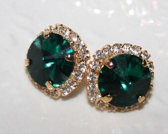 Gift for Woman,Emerald Earrings Swarovski Emerald Ear studs Gold,Green Stud Earrings,Green Crystal Emerald Earrings Statement Jewelry