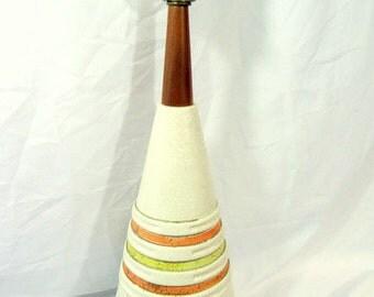 1960s Mod Pottery Striped Light Popcorn Finish Lamp