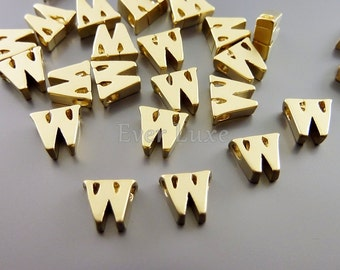 2 Lowercase letter w, matte gold initial beads, initial charms, alphabet beads, personalized jewelry crafts 1947-MG-W (matte gold, w, 2 pcs)