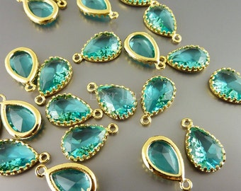 2 sea green 12mm glass charms, glass beads for diy jewelry making, craft supplies 5049G-SG-12 (bright gold, sea green, 12mm, 2 pieces)