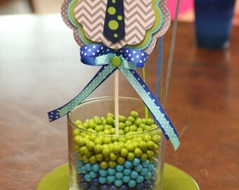 Little Man Neck Tie Chevron Stripe Polka Dot CENTERPIECE Table Decor Navy Blue Gray Turquoise Green Baby Shower Birthday Party Decorations