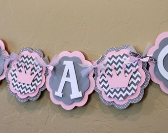 Princess Crown Light Baby Pink Gray Chevron Stripe Polka Dot NAME or IT'S A GIRL Banner Baby Shower Shabby Chic Party Decorations