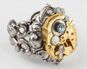 Steampunk Ring vintage gold Hamilton watch movement blue crystal Statement Ring adjustable silver filigree Cocktail Ring Steampunk jewelry