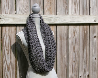 Infinity Scarf Crochet Circle Scarf in Charcoal Grey Hand Crocheted