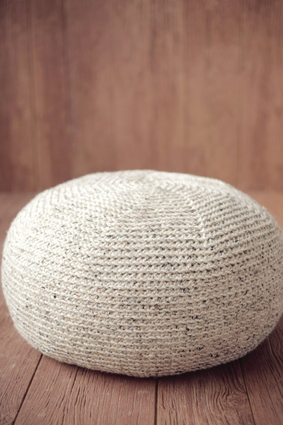 Knitting Pattern For Large Cushion : Pouf CROCHET PATTERN Crochet Pillow Ottoman Cushion Large KNIT