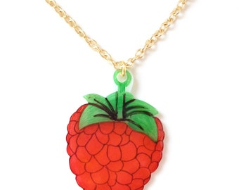 Raspberry Fruit Necklace - Pendant, Berry, Juicy, British, Red Berries, Tree, Woodland