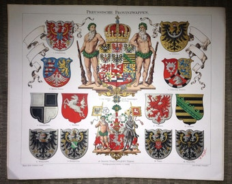 1894 heraldic crests & orders prussian original antique print
