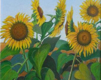 "Art & Collectibles Original Oil Painting Pastel Canvas Floral Wall Decor Landscape Sunflower Flower Yellow Quenec Canada Audet ""Head To Head"