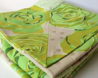 Green Rose Lovey Blanket. Baby or Toddler Cuddle Blanket