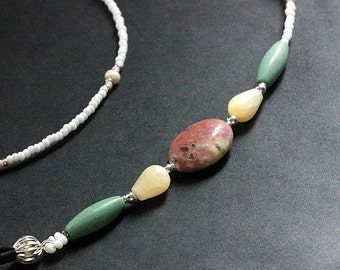 Gemstone Glasses Lanyard. Pink Student Lanyard. Turquoise Eyeglass Necklace. Cream ID Lanyard. White Beaded Lanyard. Handmade Lanyard.