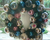 Merry Bright Pink and Blue Christmas Wreath with Vintage Glass Shiny Brite Bulbs