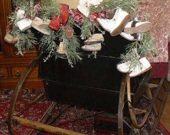Baby Steps Christmas Garland of Vintage Baby Shoes Winter Baby Shower Decor