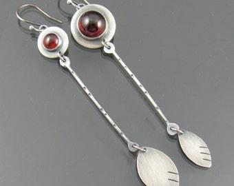 garnet petal sterling silver earrings - garnet earrings - long earrings - statement earrings - ooak - gemstone earrings - rustic jewelry