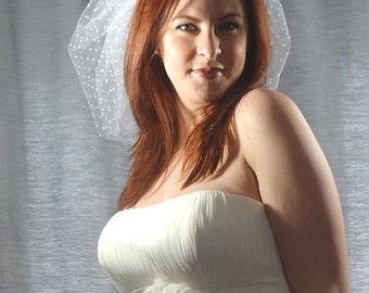Swiss Dot Mini Bubble Veil, Wedding Veil, Short Bridal Veil