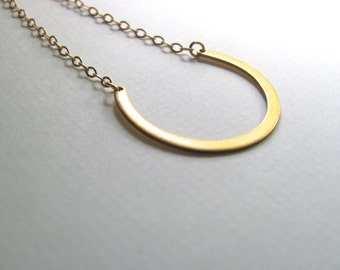 Small narrow golden crescent bib necklace, brass horseshoe on 14k gold plate chain, vintage pendant, upcycled jewelry