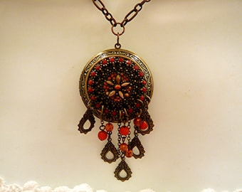 Bohemian Necklace Gypsy Necklace Locket Necklace Beaded Necklace  JUST REDUCED