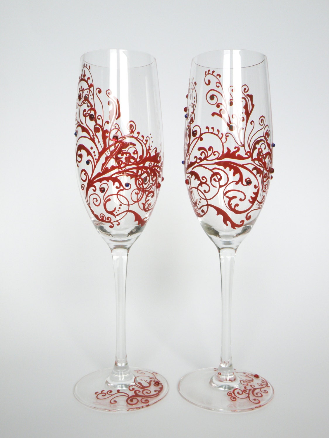 hand painted wedding toasting flutes set of 2 personalized. Black Bedroom Furniture Sets. Home Design Ideas