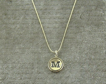 Letter M  Necklace - Sterling Silver Initial Typewriter Key Charm Necklace - Gwen Delicious Jewelry Design