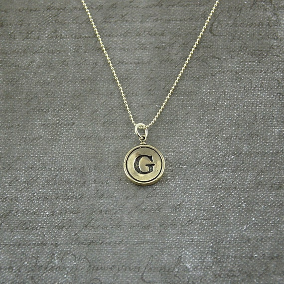 letter g necklace sterling silver initial typewriter key charm necklace gwen delicious jewelry design