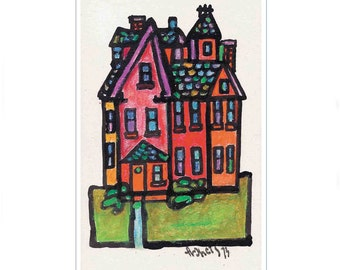 Whimsical Fine Art Reproduction City Neighborhood House - Colorful Red, orange, green, Wall Decor