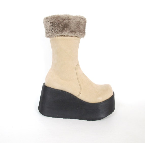 90s snow chunky wedge platform vegan ankle boots winter faux