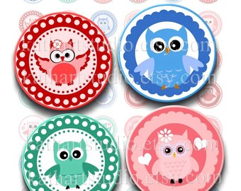 Instant Download - Owl Cuties Printable Collage Sheet - 1 inch circles for pendants, jewelry, magnets, pendants 355