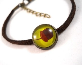 Acorn Jewelry Little Acorn Bracelet Leather Bracelet Brown and Green Tween Jewelry Autumn Jewelry Cute Bracelet Gifts for Tween Girls
