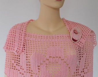 Roses - Cashmere  Pink Crochet Wrap Shawl   with Brooch -  Pink Agate Stone - Summer -  Wedding Art
