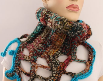 Colorful Chunky Crochet Cowl Scarf Capelet Neck Warmer