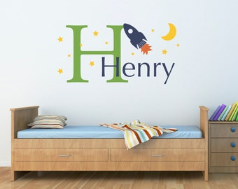 Rocket & Boys Name Wall Decal - Rocket Moon Stars Decal with Initial - Personalized Boy Decal - Large