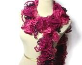 Hand Knit Ruffled Scarf - Pink Hot Pink Purple