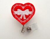 Heart Bow - Cute Badge Holder - Nurses Badge Reel - Felt Badge Holder - Nursing Badge Holder - Cardiac Badge Reel - Teacher Badge Clip