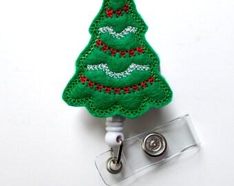 Christmas Tree Green - Holiday  ID Badge Reel - Christmas Badge Holder - Nurse Badge Holder - Nursing Badge - Felt Badge - ID Badge Holder